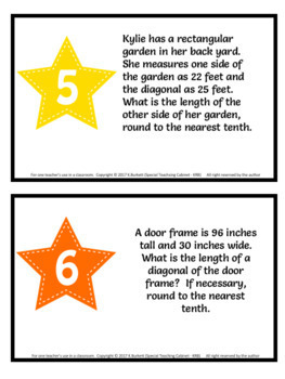 Pythagorean Theorem Task Cards Geometry Review