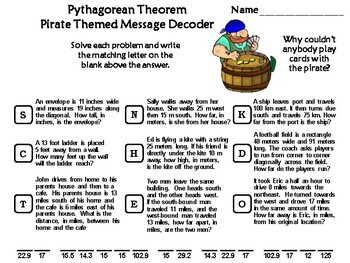 Pythagorean Theorem Activity: Pirate Themed Math Message Decoder