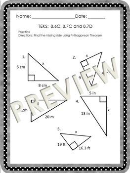 Pythagorean Theorem Aligned STAAR TEKS 8.6C, 8.7C and 8.7D