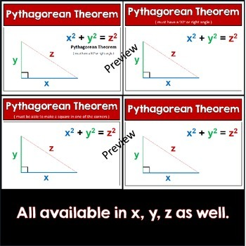 Pythagorean Theorem - Anchor Charts