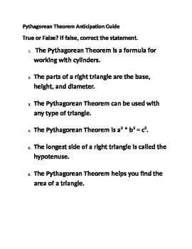 Pythagorean Theorem Anticipation Guide
