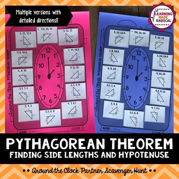 Pythagorean Theorem Around the Clock Partner Scavenger Hunt