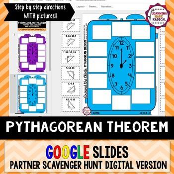 Pythagorean Theorem Around the Clock Partner Scavenger Hunt GOOGLE SLIDES