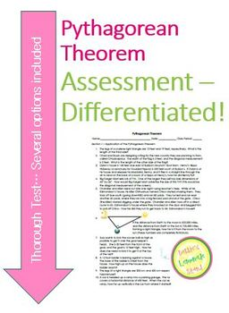 Pythagorean Theorem Assessment - 30 Questions, All Skills W/DIFFERENTIATION