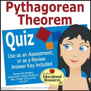 Pythagorean Theorem Assessment - Quiz - Test - 8th Grade Math