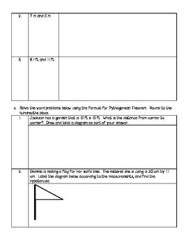 Pythagorean Theorem Assignment, Quiz, or Review