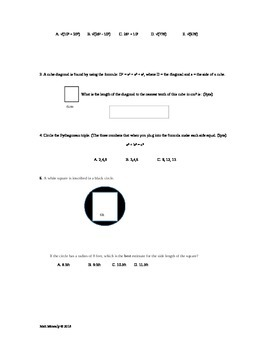 Pythagorean Theorem Asssessment