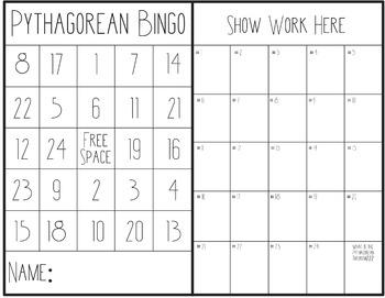 Pythagorean Theorem Bingo Game and Rewards Cards