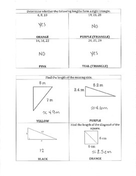 Pythagorean Theorem Color By Answer Review