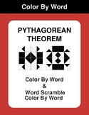 Pythagorean Theorem - Color By Word & Color By Word Scramble Worksheets