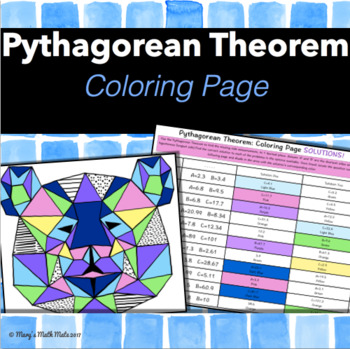 Pythagorean Theorem : Coloring Activity