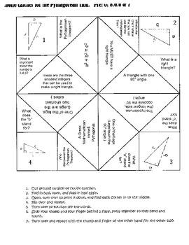 Pythagorean Theorem, Common Core 8.G.7 & 8.G.7, Cootie Catcher!!!