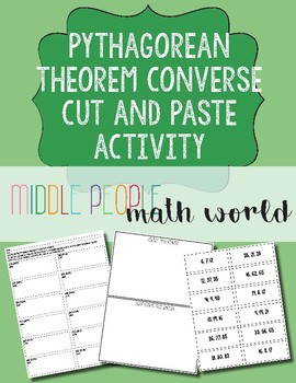 Pythagorean Theorem Converse Cut and Paste Activity