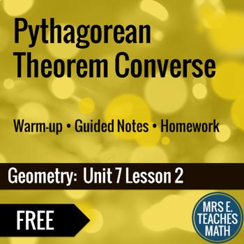 Pythagorean Theorem Converse Lesson