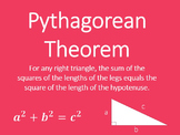 Pythagorean Theorem Converse Mini Posters 8.G. 6 7 Geometry Word Wall