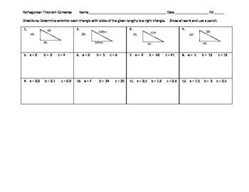 Pythagorean Theorem Converse PA CORE 8th grade