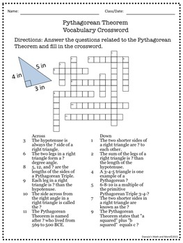 8th Grade Math Pythagorean Theorem Vocabulary Crossword