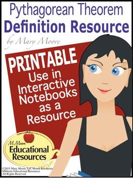 Pythagorean Theorem Definition Resource - 3 HANDOUTS, PRINTABLES