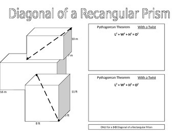 Pythagorean Theorem & Diagonals of Rectangular Prisms PA CORE 8th grade