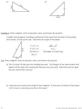 Pythagorean Theorem Differentiated Notes and Practice