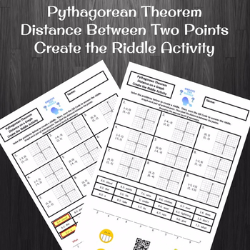 Pythagorean Theorem Distance Between Two Points Create the Riddle Activity