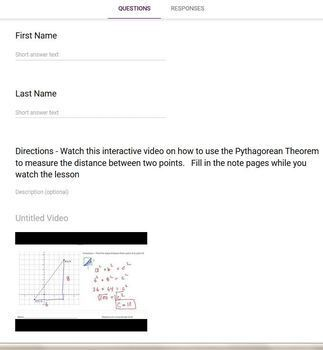 Pythagorean Theorem Distance Problems (Google Form & Interactive Video Lesson!)