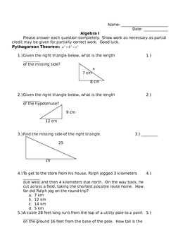 Pythagorean Theorem, Distance, and Midpoint Quiz