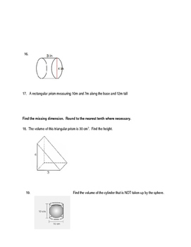 Pythagorean Theorem, Distance and Volume Practice