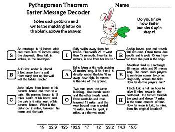 Pythagorean Theorem Easter Math Activity: Message Decoder