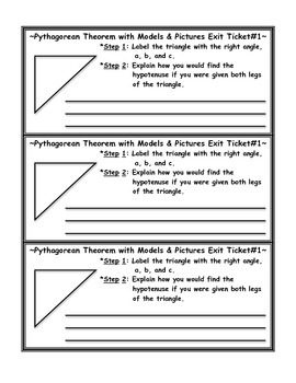 Pythagorean Theorem with Models Exit Ticket