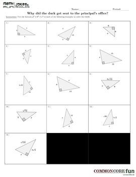 Pythagorean Theorem FUN worksheet