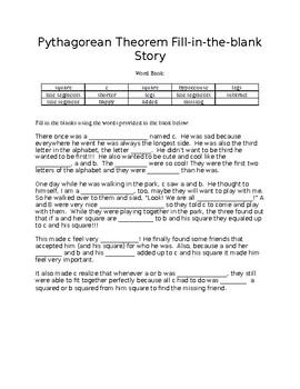 Pythagorean Theorem Fill-in-the-blank Narrative Story