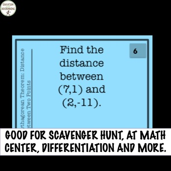 Pythagorean Theorem to Find the Distance Task Card Activity