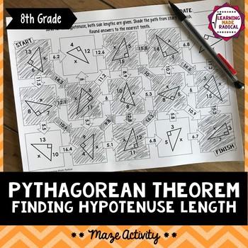 Pythagorean Theorem - Finding Hypotenuse Length Maze Activity 8.G.B7