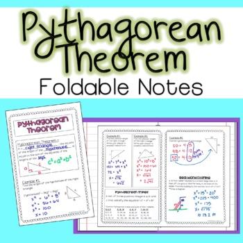 Pythagorean Theorem - Foldable Notes
