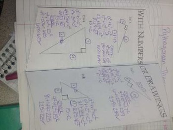 Pythagorean Theorem Foldables for fidning the leg and finding the hypotenuse