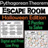 Pythagorean Theorem Game: Geometry Escape Room Halloween Math Activity