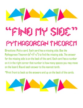 "Pythagorean Theorem Game ""Find my Side"""