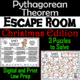 Pythagorean Theorem Game: Geometry Escape Room Christmas Math Activity