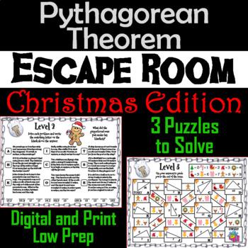 Pythagorean Theorem Game: Geometry Escape Room Christmas Math Activity