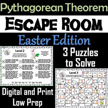 Pythagorean Theorem Game: Geometry Escape Room Easter Math Activity