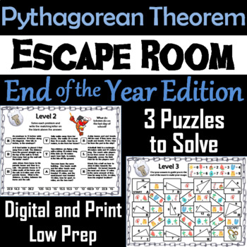 Pythagorean Theorem Game: Geometry Escape Room End of the Year Math Activity