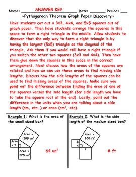 Pythagorean Theorem Graph Paper Discovery Activity