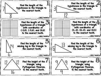 Pythagorean Theorem Graphic Organizer and Practice Activity