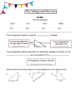 Pythagorean Theorem Guided Notes & Practice