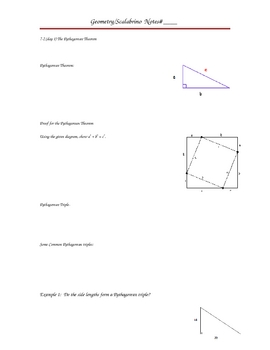Pythagorean Theorem, Guided Notes, Sample Problems, Lesson