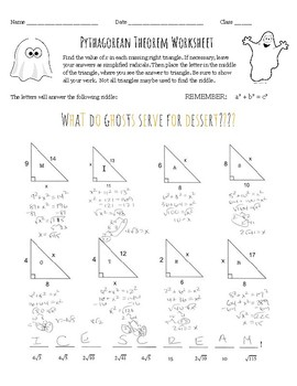Pythagorean Theorem Halloween Worksheet