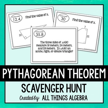 Pythagorean Theorem (Includes Converse and Word Problems) Scavenger Hunt