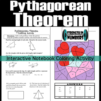 Pythagorean Theorem Interactive Notebook Valentine's Day Coloring Activity