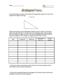 Pythagorean Theorem Lab